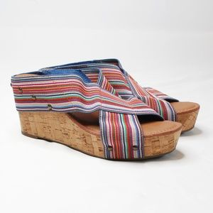 CROWN VINTAGE | Multicolored Strappy Cork Wedge